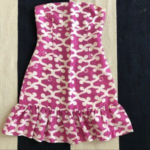 CK Bradley Strapless Silk Dress Pink Pattern